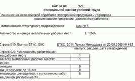 Форма карты специальной оценки условий труда работников